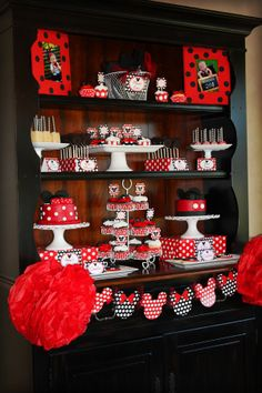 Mickey Mouse Birthday Party Red and Black by LillianHopeDesigns, $35.00