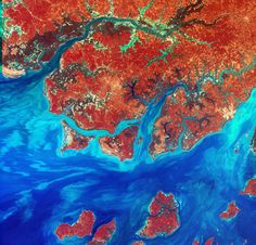 Guinea-Bissau - Guinea-Bissau is a small country in West Africa. Complex patterns can be seen in the shallow waters along its coastline, where silt carried by the Geba and other rivers washes out into the Atlantic Ocean.