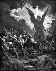 Destruction of the Army of Sennacherib - Gustave Dore Gustave Dore, Samael Angel, Satanic Art, Arte Obscura, Demonology, Angel Of Death, Angels And Demons, Bible Art, Christian Art