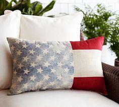 """American Flag Outdoor Lumbar Pillow, 16 x 26"""", Multicolor"""