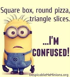 Minions Square box round pizza triangle slices confusion in General Memes - Memes Best Funny Jokes, Best Funny Videos and Best Funny Memes in the web. The All in One funny jokes, videos and picture packages in the website for the first time. Minion Humour, Funny Minion Memes, Minions Quotes, Funny Jokes, Minion Sayings, Funny Pizza Quotes, Guy Humor, Math Jokes, Cartoon Jokes