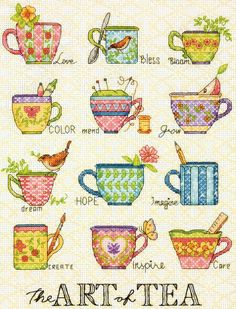 """shop: Dimensions """"The Art of Tea"""" Counted Cross Stitch Kit Susan Winget Design Hobbies Crafts Gifts Counted Cross Stitch Patterns, Cross Stitch Designs, Cross Stitch Embroidery, Embroidery Patterns, Hand Embroidery, Dimensions Cross Stitch, Buch Design, Cross Stitch Kitchen, Tea Art"""