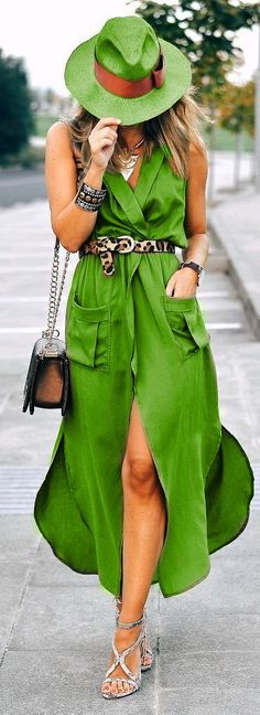 Green - Maxi Vest - http://blog.styleestate.com