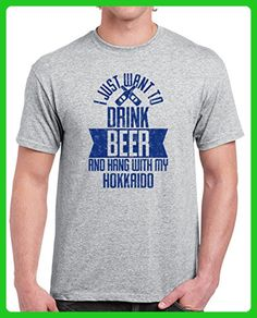 Hokkaido I Just Want To Drink Beer with My Dog Funny Pet Lover Men's T-shirt L Sport Grey - Food and drink shirts (*Amazon Partner-Link)