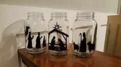Vinyl Nativity Scene Mason Jar Nativity by UpstairsOriginals