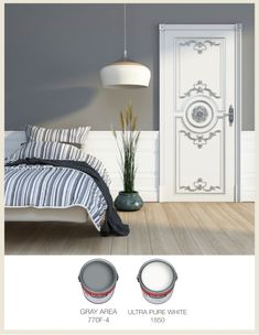 #Simple but such beautiful #Fabrics #BEHRPaint ~ Gray Area color for our bedroom?