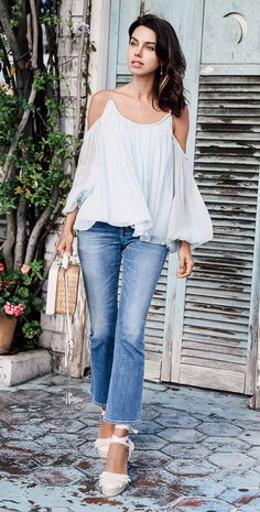 Spring blouse, jeans @roressclothes closet ideas #women fashion outfit #clothing style apparel