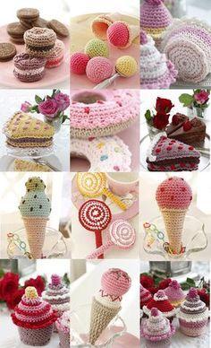Tasty Crochet, free pattern, amigurumi, food, ice, cake, #haken, gratis patroon (Engels), eten, voedsel, ijs, cake, cupcake, lollie, #haakpatroon