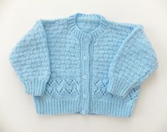 Vintage Baby Cardigan, Hand-knitted baby cardigan, Blue Cardigan, Baby Boy Clothing, Baby Blue Winter Baby Clothes by PeonyandThistle on Etsy https://www.etsy.com/listing/210795334/vintage-baby-cardigan-hand-knitted-baby