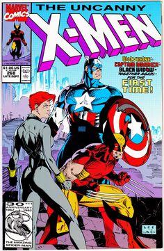 Uncanny X-Men 268 Marvel 1990 VF Wolverine Captain America Black Widow Jim Lee Marvel Girls, Marvel X, Lego Marvel, Marvel Heroes, Marvel Comic Books, Comic Book Heroes, Comic Books Art, Marvel Comic Character, Comic Book Artists