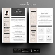 4 page curriculum vitae / modèle de CV  par TheResumeBoutique