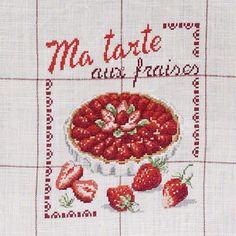 Détail Torchon «Aux fraises» à broder au point de croix les brodeuses parisiennes