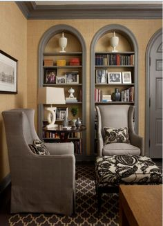 Tom Stringer Gorgeous Arched Bookcase With Linen Wallpaper Painting Trim Interior Design
