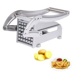 Stainless Steel Home French Fries Potato Chips Strip Cutting Cutter Machine Maker Slicer Chopper Dicer + 2 Blades PTSP Potato Chip Slicer, Potato Chip Cutter, Perfect French Fries, Making French Fries, Chopper, Potato Chips Machine, Sausage Filler, French Fry Cutter, Chips