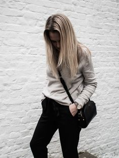 Vikki (Style and Minimalism) wears our Womens New Cashmere Roll Neck Chunky Jumper (Q16L) in Dove Grey