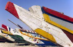 Nouakchott. Colourful fishing boats on the shore at the Plage des Pecheurs