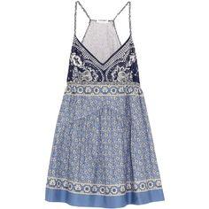 Chloé Printed cotton-voile mini dress ($1,195) ❤ liked on Polyvore featuring dresses, blue, short dresses, chloe dress, mini dress, multi colored dress and colorful dresses