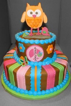 Cute & Colorful Owl Cake
