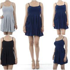 ebclo - Casual Spaghetti Strap Knit Tank Top Flare Mini Dress w/ Pockets NEW $8.00 Free Domestic Shipping