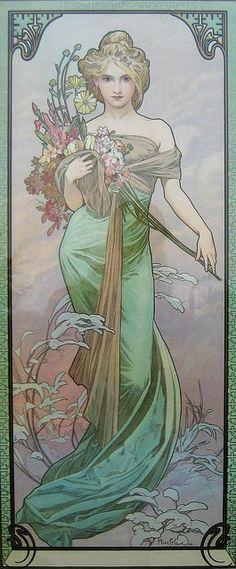 Alphonse Mucha (Czech, 1860 - 1939). The Seasons: Spring, 1900. Color Lithograph, 73 x 32 cm.