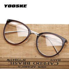 a499dcc1b1f YOOSKE Oversized Clear Lens Glasses Men Women Retro Metal Frame Eyeglasses  Transparent Optical Cat Eye Glasses
