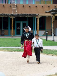 Navajo Dance at Indian Pueblo Cultural Center, Albuquerque, New Mexico. Sister and brother dance for us.