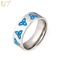 U7 Viking Jewelry Stainless Steel Bands Ring Men Women Jewelry With Triquetra Pattern Wholesale Keltic Irish Trinity Rings R376
