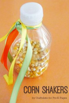 Corn Shakers Music Activity for Preschoolers. Great for a fall, harvest, or Thanksgiving theme. Discover the educational benefits of using shakers in the classroom to enhance early learning!