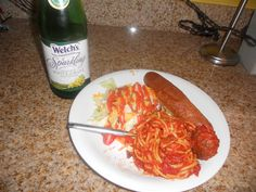 Lady and the Tramp: Spaghetti and meatballs, Salad, Breadsticks, and Sparkling grape juice.