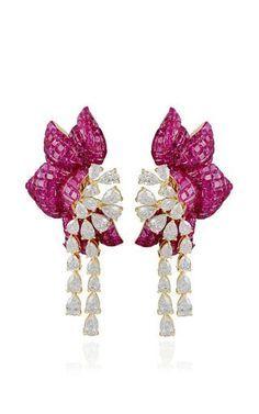 Ruby floral earring by FARAH KHAN FINE JEWELRY Preorder Now on Moda Operandi