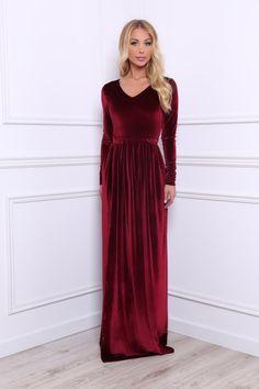 7bc115897662a Burgundy Bridesmaid Party Velvet Maxi Dress/ V Neck High Slit Long Sleeves  Waistband Sash/ Burgundy Dress