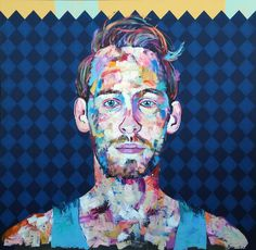 """Ryan in Tank Top,"" colorful portrait by artist Jonathan McAfee available at Saatchi Art #geometric #portrait"