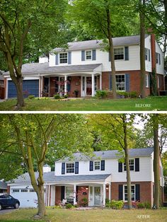 Before And After Exterior Refresh Of A Colonial Style House