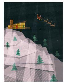 Josie Portillo, Illustrator. Midcentury Modern Christmas Cabin with Santa and Reindeer
