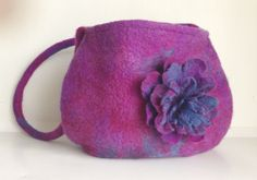 Handbag in Purple Burgundy Turquoise Handmade Felt Lined.  Purple bag Wool, Shoulder  Messenger bag,  felt bag felt flower, Felt flower bag....