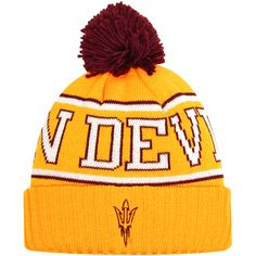 Arizona State Sun Devils adidas Team Cuffed Knit Hat with Pom - Gold - $19.19