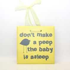 Baby Sleeping Sign Door Hanger Gray and Yellow for Boy by KotiBeth, $12.00