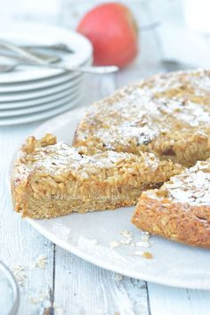 Apple pie with oatmeal base from Anna Yilmaz - Carola Bakt Zoethoudertjes Dutch Recipes, Sweet Recipes, Baking Recipes, Dessert Recipes, Desserts, Gluten Free Baking, Healthy Baking, Baking Bad, Sweet Pie