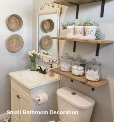 Guest Bathroom Makeover Ideas On A Budget - Bathroom Decorating - Bathroom Decor Half Bathroom Decor, Bathroom Wall Cabinets, Remodel Bathroom, Bathroom Modern, Master Bathroom, Bathroom Interior, Bathroom Vanities, Bathroom Remodeling, White Bathroom