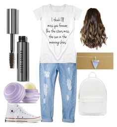 """school day"" by debbiepapad ❤ liked on Polyvore featuring MANGO, Converse, Eos, Bobbi Brown Cosmetics and PB 0110"