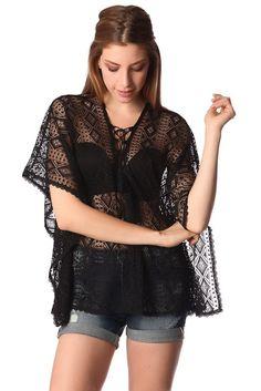 Black kimono top in crochet with lace tie