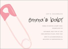 """Haute Note Baby Shower Card """"pin pink"""" www.hautenote.com Baby Shower Cards, Lets Celebrate, Having A Baby, Birthday Party Invitations, Announcement, Baby Kids, Stationery, Notes, Pink"""