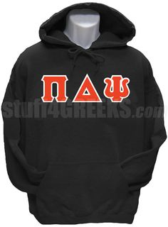 Black Pi Delta Psi pullover hoodie sweatshirt with the Greek letters across the chest.