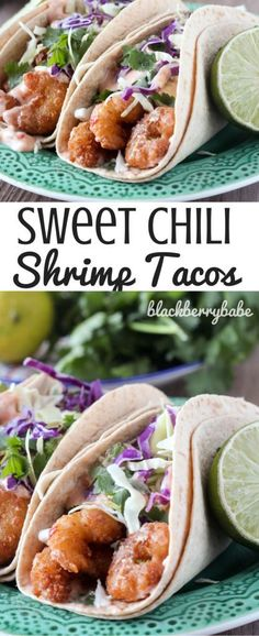 I can't believe these tacos are ready in 18 minutes! I used crispy shrimp and topped with a creamy sweet hilibsauce and cilantro like coleslaw. SO easy! Shrimp Tacos | Lime Coleslaw | Crispy Shrimp Tacos | Easy Tacos