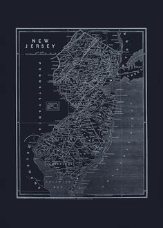 NEW JERSEY MAP Blueprint Map of New Jersey by EncorePrintSociety