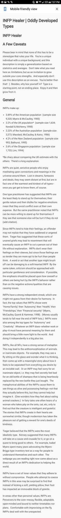 I see almost nothing wrong with what way said about an INFP. Why change!? Maybe a little.