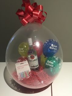 18 Crystal Clear balloon red shred filled with 5 happy birthday balloons with a Bacardi Rum and a store card gift inside. Balloon Flowers, Balloon Bouquet, Best Birthday Gifts, Diy Birthday, Birthday Month, Balloon Decorations, Birthday Decorations, Ballon Arrangement, Balloons Galore