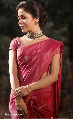 Bridal Sarees South Indian, Indian Bridal Outfits, Indian Bridal Fashion, Indian Gowns Dresses, Indian Fashion Dresses, Indian Designer Outfits, Saree Designs Party Wear, Bridal Blouse Designs, Half Saree Designs