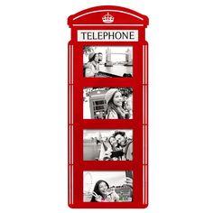Porta Retrato de Parede Cabine Telefônica - 23 x 2 x 60 cm