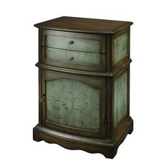 Dante Green And Brown Accent Chest With Hand Painted Scroll Detail Coast To Coast Imports--Very rich looking-jc